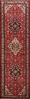 3'x10' Red Traditional Vintage Geometric Runner Rug Hand-Knotted Oriental Carpet