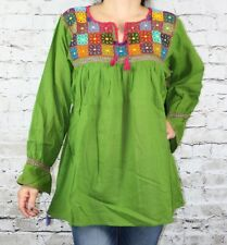 Green Handmade Rococo Mexican Blouse Oaxaca 100% Cotton Small Hand Embroidered