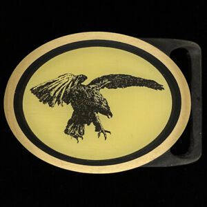Tech Ether Eagle Vet Biker Cowboy Western Brass NOS 1980s Vintage Belt Buckle