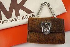 NWT MK MICHAEL KORS Hamilton Flap Coin Purse Mocha Leather Silver Lock & Chain