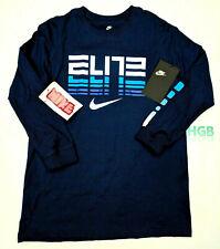 Nike Sportswear Elite Long Sleeve Tee Shirt Blue White 100% Cotton AT9770-478