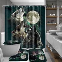 US Moon Wolf 180cm Shower Curtain 12 Hook Bathroom Lid Toilet Rug Bath Mat Cover