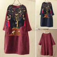 Vintage Femme Manche longue Col Rond Imprimé Floral Droit Jupe Mini Robe Plus