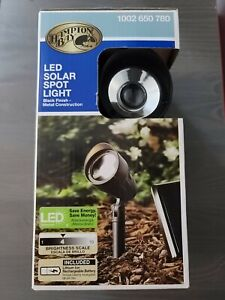 Hampton Bay Led Spot Light Landscape Integrated Solar Panel Black Metal Outdoor
