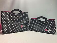 Set (2) CREATIVE OPTIONS Knit Crochet Craft Totes Black White Polka Dot