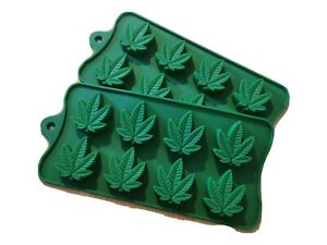 2 Silicone Mould cannabis leaf baking Sweet Gummie candy weed marijuanna cake