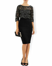 New MONSOON Madineh Black Lace Tiered Cocktail Pencil Dress Size 18 BNWT £119