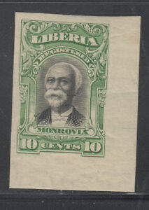Liberia # F13 IMPERF COLOR TRIAL in GREEN on White Paper 1903 Registration Set