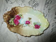 ANTIQUE LIMOGES FRANCE OVAL PIN TRAY~COIFFE 1891-1914~ROSE DESIGN W MULTI COLORS
