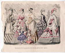 Victorian Fashion Plate GODEY'S FASHIONS FOR AUGUST 1871 Park Scene/Trained Dog