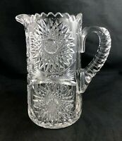 "🟢 Antique Straus Macys ABP Brilliant Cut Glass STAR Pattern 8 1/2"" Jug Pitcher"