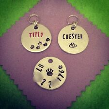 Personalised Hand Stamped Dog Collar ID Tag. Handmade Bespoke Custom Gift.
