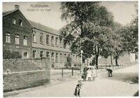 Ansichtskarte - Mülheim - Dümpten - Schule an der Post mit Kindern und Hund - sw