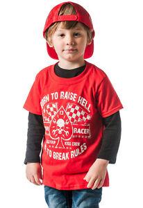 Dragstrip Kids Crew Red Born To Raise Hell Hot Rod Kids Biker Skull Flag T`shirt