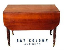 19TH C ANTIQUE CHERRY ACANTHUS CARVED DROP LEAF DINING TABLE