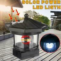 LED Solar Lighthouse Rotating Light Garden Yard Outdoor Lamp Tower Decor I0A2