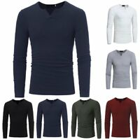 Fashion Men's Muscle Long Sleeve Shirt V-neck Casual Slim Fit T-shirt Tee Top