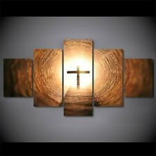 Glowing Jesus Cross Christian 5 Pieces canvas Wall Art Print Picture Home Decor
