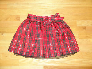 Preowned Girls Cherokee Red Black Plaid Holiday Skirt M 7/8 Polyester