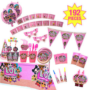 LOL PARTY SUPPLIES / BIRTHDAY DECORATION 192 pcs SET