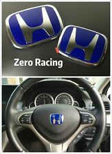 Zero Racing 3pcs Blue Steering Front Rear Emblem Badge Accord Coupe 2008-2017