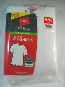 NWT BOYS HANES CLASSICS COMFORT SOFT WHITE 100% COTTON TAGLESS T-SHIRT size XL