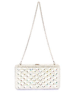 Judith Leiber Airstream Silver Crystal And Leather Clutch Handbag M176304 $3695