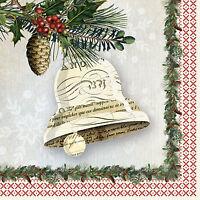 Servietten 20, Serviettentechnik Winter Lodge Bell Glocke Weihnachten ppd, 33x33