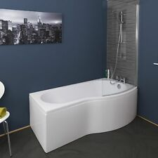 Bathroom P Shaped Shower Bath Front 1700mm Side Panel Only White Gloss Acrylic