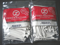 """Zero Friction Performance Tees 3 1/4"""" 2 Packs of 50 3-Prong Biodegradable White"""