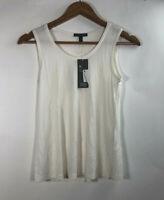 NWT Eileen Fisher Women' Size XXS Strech Silk Jersey Neck Tank Soft Ivory Top
