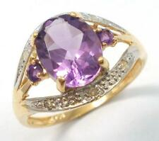 BESTJEWELLERY 10KT YELLOW GOLD OVAL NATURAL AMETHYST & DIAMOND RING SIZE 7 R1025