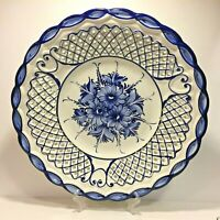 "Large Ceramic plate portugal hand painted white & blue RCCL 15.5""D Lattice edge"