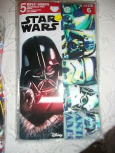 BOYS NEW SIZE 6 BRIEFS STAR WARS  5 IN PACKAGE BY DISNEY