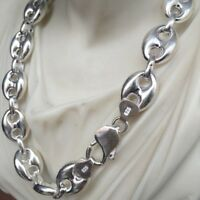 14mm Hollow Puffed Marina Link Chain Necklaces 925 Silver Sterling 32 Inch 72GR