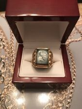 VINTAGE 10 KT GOLD MEN'S CAMEO KNIGHT RING SIZE 9