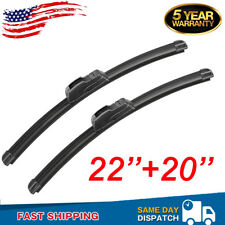 "Front Windshield Wiper Blades 22"" + 20"" OEM Quality All Season J Hook Frameless"