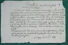 Selongey Côte d'Or 1819 Affiche manuscrite De Martinécourt
