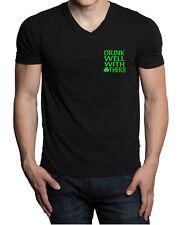 Men's Drink Well With Other V-Neck Black T Shirt St. Patrick's Ireland Beer V506