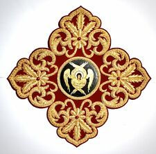 Greek Liturgical Embroidered Gold Cross With Icon For Vestment Applique