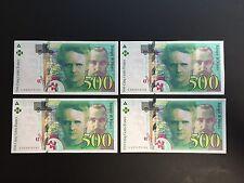 FRANCE 500 FRANCS CURIE 1995 LOT 4 BILLETS - PAIRE de 2 n° se SUIVANT pr.NEUFS.