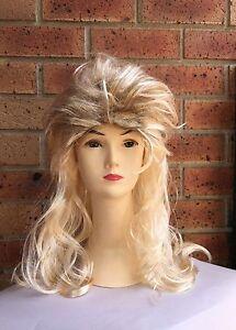 Blonde Mullet wig 70s 80s Party Costume Rock Bogan