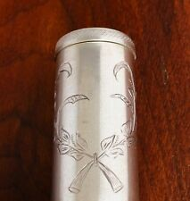 - IG GERMAN? 800 SILVER POWDER SHAKER JAR WITH ENGRAVED BOTANICAL DECORATION