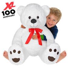Peluche Orso Gigante XL Alto 100cm Pupazzo Bambini Orsacchiotto Morbido Bianco