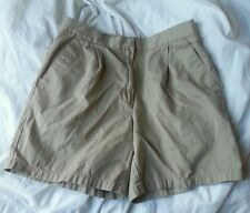 ANN TAYLOR SIZE 4 KHAKI SHORTS PLEATED FRONT BELT LOOPS POCKETS