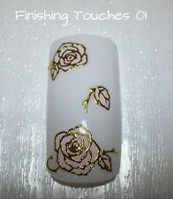 Flower Nail Art Sticker -3D Shiny Pink Metallic Gold Decal #282 TJ008 Transfer