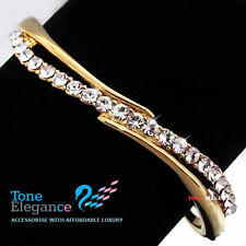 18k yellow gold GF solid wedding ladies bracelet w/ swarovski elements crystal
