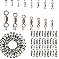 Lots 100Pcs Fishing Barrel Bearing Swivel Stainless Steel Solid Ring Connector