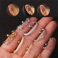 Punk Jewelry Cartilage Cuff Ear Studs CZ Zircon Helix Tragus Piercing Earring