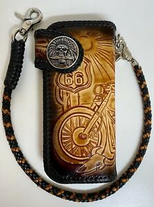 Leather biker trucker motorcycle Chain Wallet Tooled route 66 Desert hand made